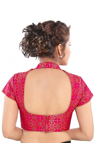 Pink Brocade Helter Neck Woven Blouse