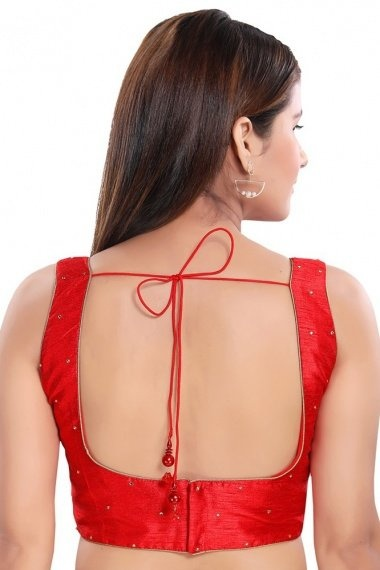 Red Art Silk Blouse with Stone Work