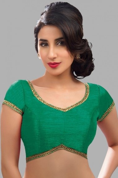 Green Art Silk Blouse with Lace