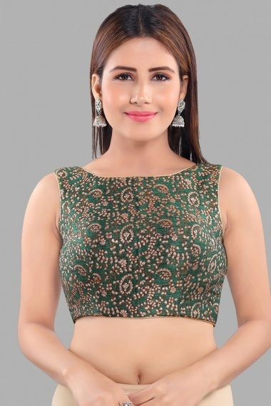 Green Jacquard Blouse with Weaving