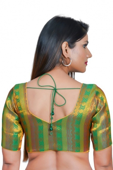 Green Shaded Jacquard Woven Blouse