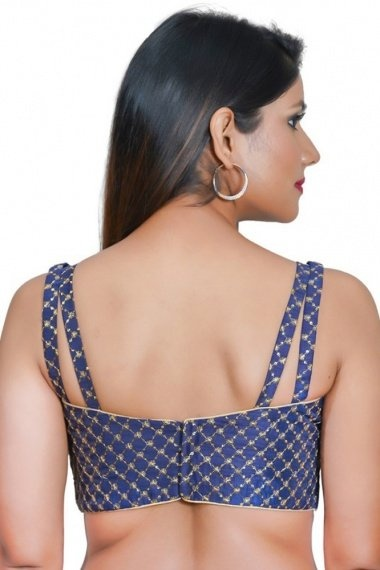 Navy Blue Art Silk Blouse with Embroidery