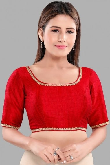 Red Art Silk Blouse with Lace