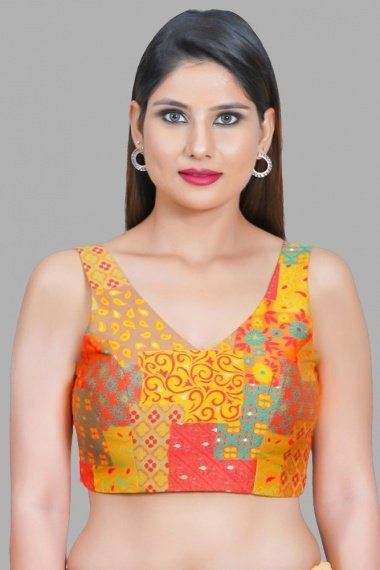 Mustard and Multi Colored Woven Blouse