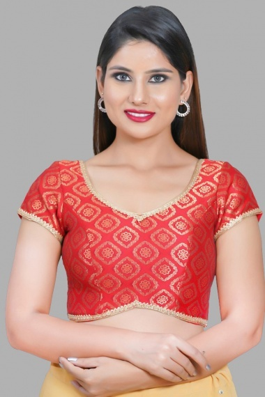 Red Jacquard Woven Blouse