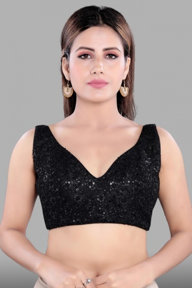 Black Net Sequins Worked Blouse