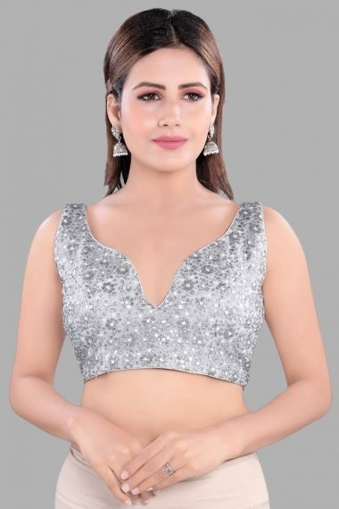 Silver Net Sequins Worked Blouse
