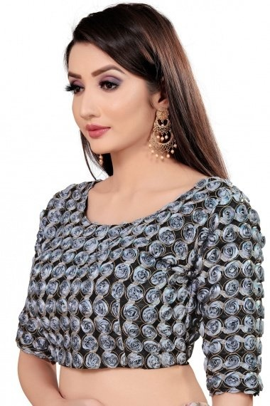 Black and Grey Art Silk Lace Worked Blouse