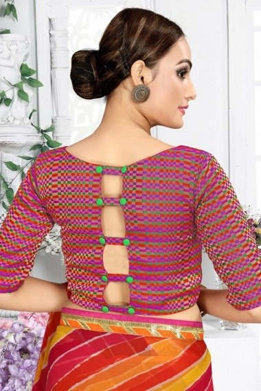 Pink and Multi Colored Brocade Blouse