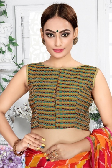 Green and Multi Colored Brocade Blouse