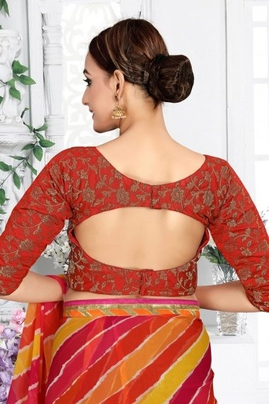 Red Brocade Woven Blouse