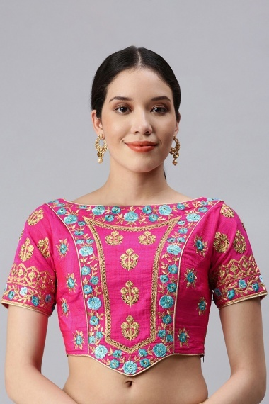 Pink Art Silk Embroidered Blouse