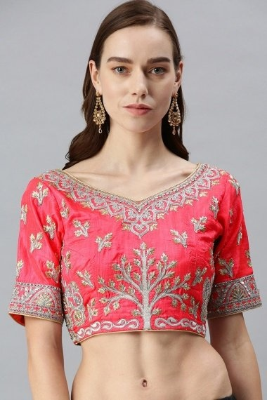 Pink Art Silk Blouse with Embroidery