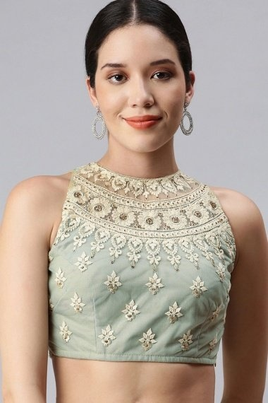 Grey Lycra Net Embroidered Blouse