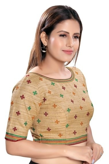 Beige Cotton Thread Embroidered Blouse