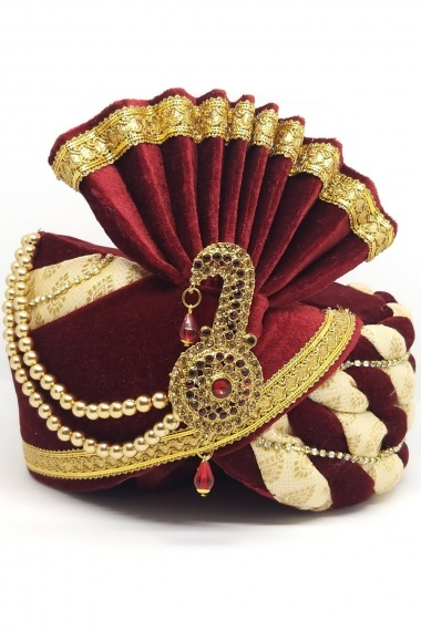 Maroon and Cream Velvet Safa with Lace