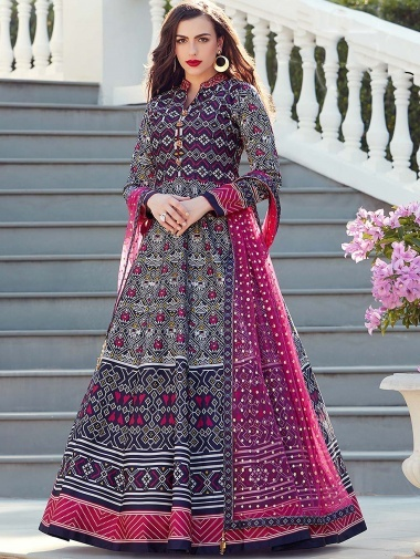 Multi Colored Silk Traditional Anarkali Suit with Patola Print