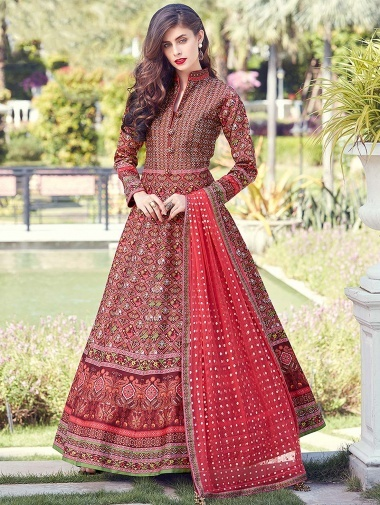 Maroon Silk Traditional Anarkali Suit with Patola Print