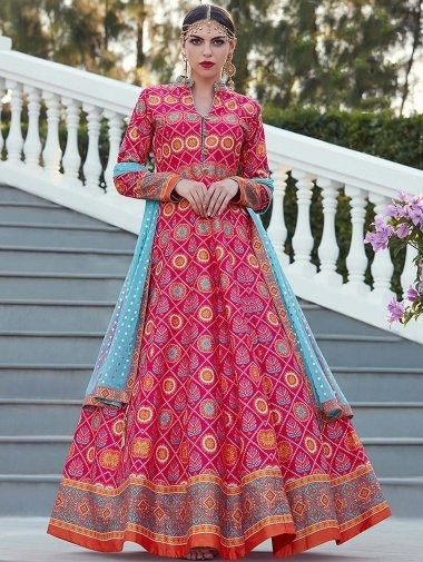 Pink Silk Traditional Anarkali Suit with Patola Print