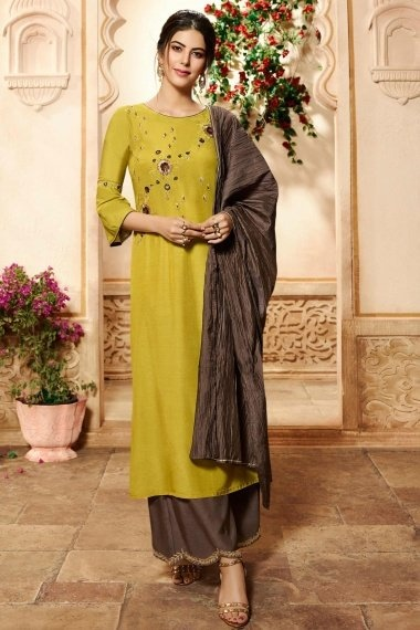 Mehendi Green Viscose Embroidered Straight Cut Palazzo Suit