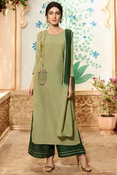 Olive Green Viscose Embroidered Straight Cut Palazzo Suit