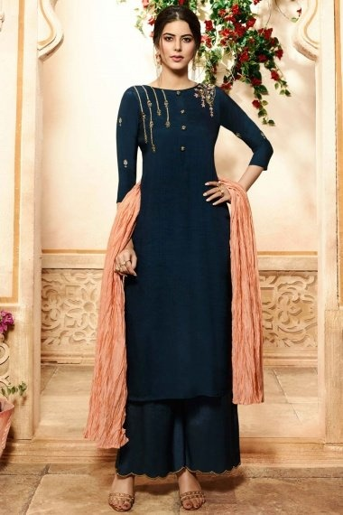 Navy Blue Viscose Embroidered Straight Cut Palazzo Suit