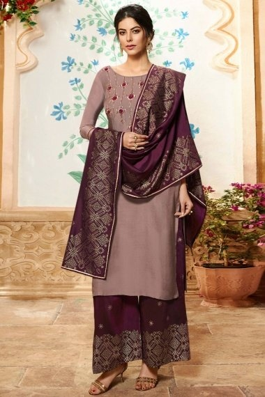 Mauve Viscose Embroidered Straight Cut Palazzo Suit