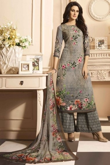 Grey Crepe Straight Cut Palazzo Suit with Digital Print