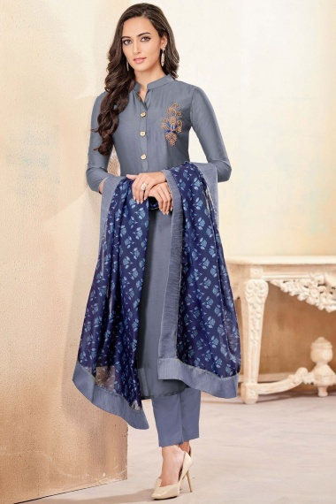 Grey Cotton Handworked Straight Cut Suit with Printed Dupatta