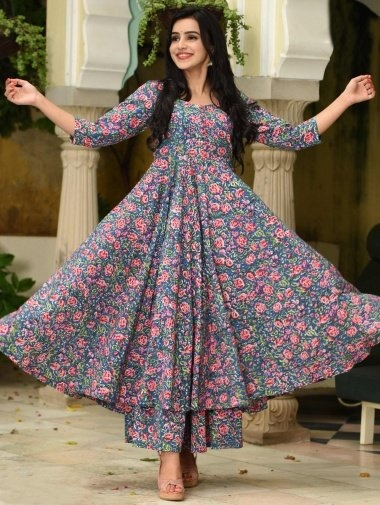 Navy Blue Muslin All Over Pink Floral Printed Anarkali Kurti with Palazzo