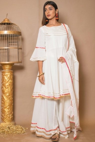 Pearl White Cotton Gota Patti Worked Palazzo Suit with Bell Sleeves