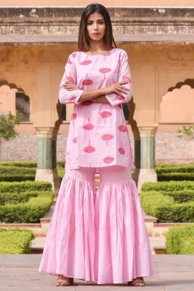 Light Pink Cotton Straight Cut Floral Printed Sharara Suit