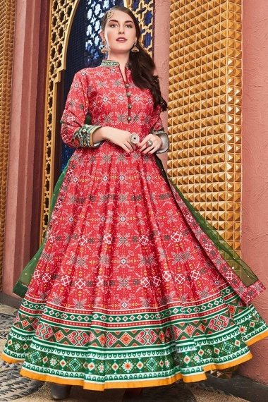 Red Silk Traditional Patola Printed Flared Anarkali Suit with High Neck