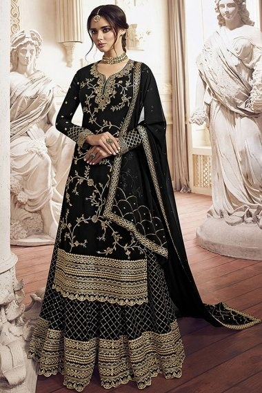 Black Georgette Designer Embroidered Palazzo Suit