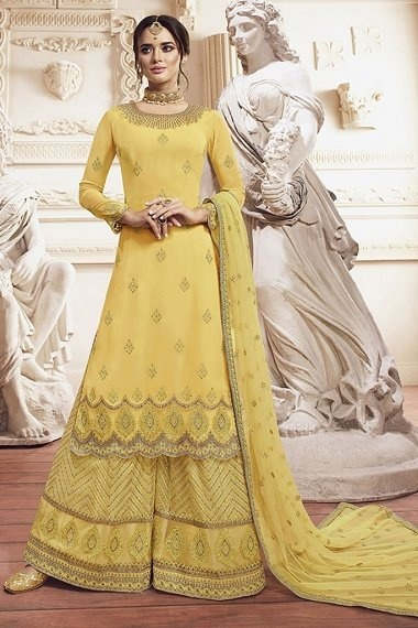Yellow Georgette Designer Embroidered Palazzo Suit