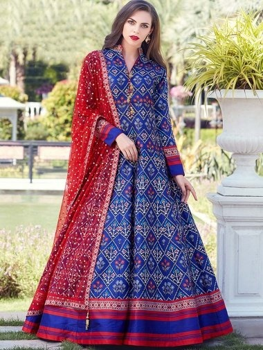 Navy Blue Silk Traditional Patola Printed Flared Anarkali Suit