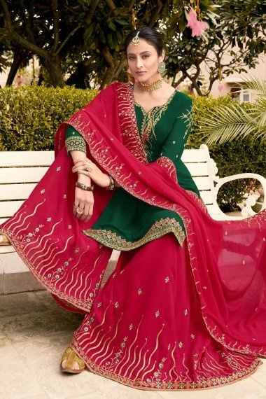 Green Georgette Designer Embroidered Straight Cut Palazzo Suit