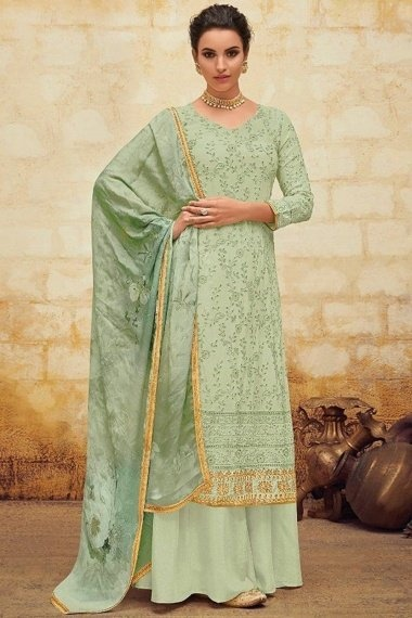 Green Georgette Embroidered Straight Cut Palazzo Suit