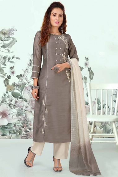 Grey Art Silk Straight Cut Embroidered Suit
