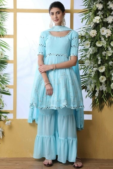 Sky Blue Georgette Sharara Suit with Embroidery and Mirror Work
