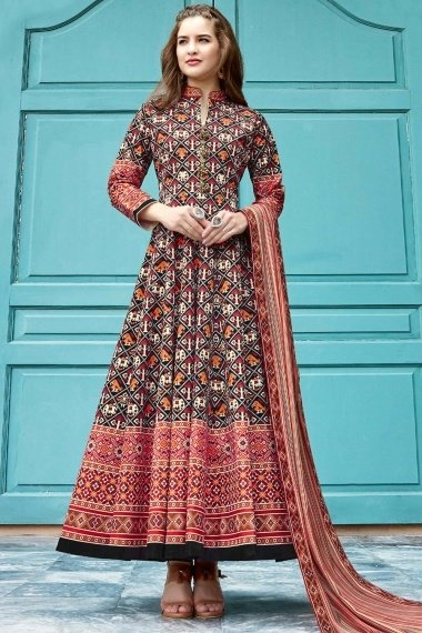 Black Silk Traditional Patola Printed Flared Anarkali Suit with Contrast Border