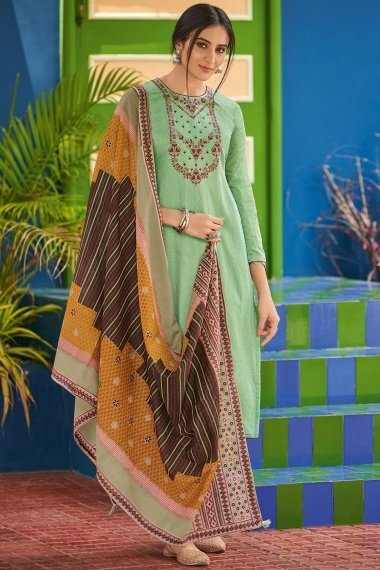 Green Cotton Straight Cut Suit with Embroidery