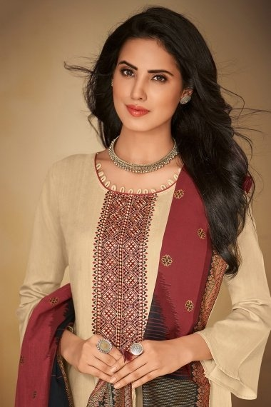 Cream Cotton Straight Cut Suit with Embroidery