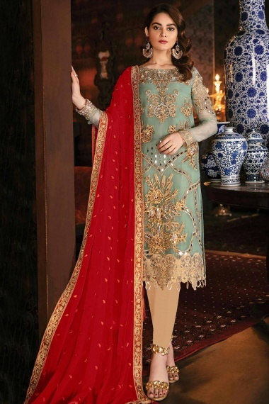 Sea Green Georgette Designer Embroidered Straight Cut Suit