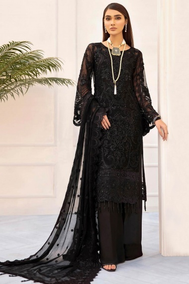 Black Net Embroidered Straight Cut Palazzo Suit