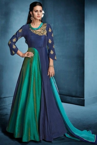 Dark Blue and Rama Green Art Silk Designer Gown with Embroidered Neck