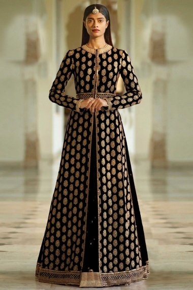 Black Silk Designer Front Slit Cut Lehenga Suit with Heavy Embroidered Work
