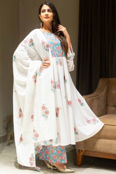 Off White and Sky Blue Cotton Floral Printed Anarkali Palazzo Suit