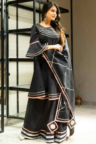 Black Cotton Gota Patti Lace Worked Lehenga Suit with Bell Sleeves