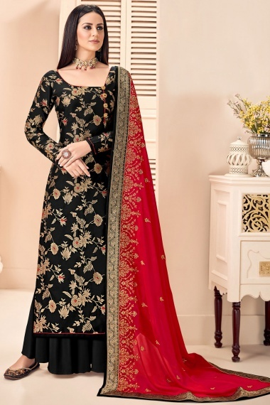 Black Silk Floral Woven Straight Cut Palazzo Suit